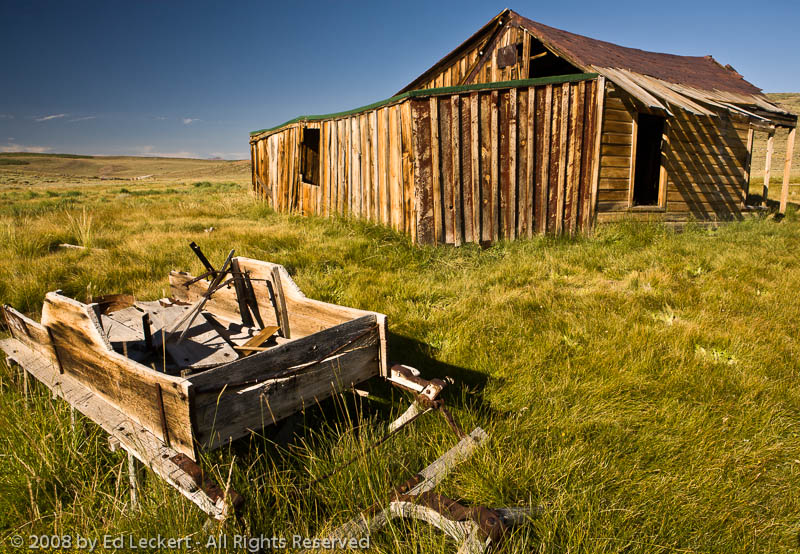 Old Barn and Wheelbarrow, Bodie, California