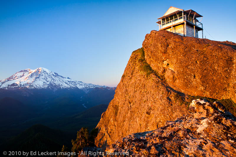 high rock lookout at sunset  gifford pinchot national
