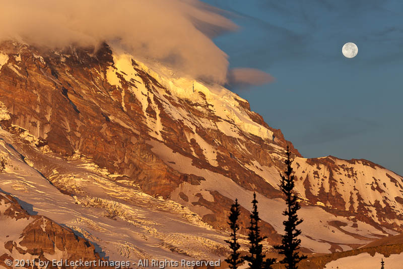 Mt. Rainier and Full Moon at Dawn, Mount Rainier National Park