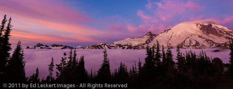 Sunrise above the Clouds at Sunrise, Mount Rainier National Park, Washington