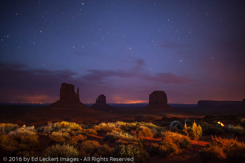 the mittens from the campground  monument valley  arizona
