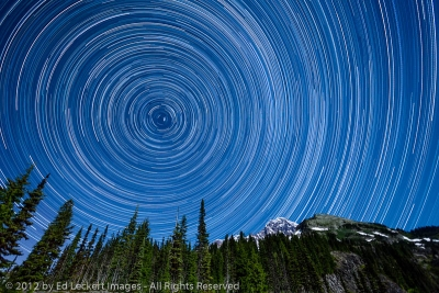 Star Trails above Mount Rainier and Pyramid Peak, Mount Rainier National Park, Washington