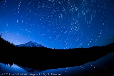 Star Trails at Reflection Lakes, Mount Rainier National Park, Washington