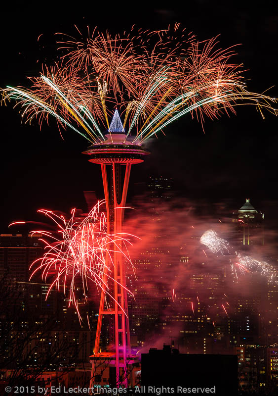 Space Needle Fireworks Seattle Washington Ed Leckert