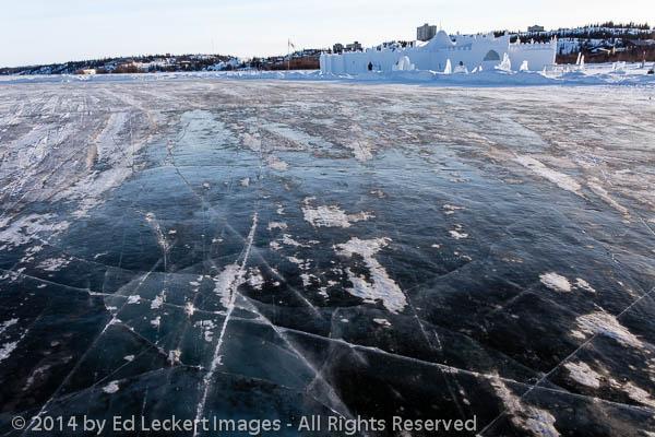 Lake Ice and Snowking Snowcastle, Yellowknife, Northwest Territo