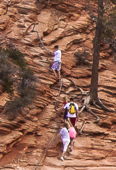 Hikers Using Chains on Angels Landing, Zion National Park, Utah