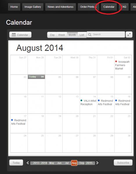 Calendar screenshot