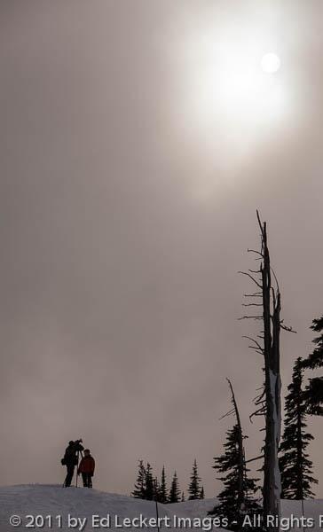 Photographer and Sun, Mount Rainier National Park, Washington