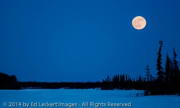 Full Moon over Frozen Lake, Yellowknife, Northwest Territories,