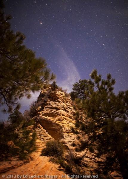 Angels Landing Trail by Moonlight, Zion National Park, Utah