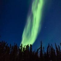 Fiery Aurora Borealis, Prelude Lake Territorial Park, Northwest Territories, Canada