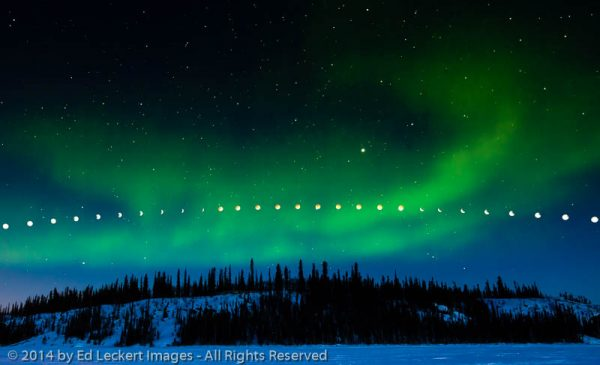 Lunar Eclipse and Aurora Borealis, Prelude Lake Territorial Park, Northwest Territories, Canada
