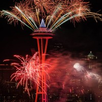 Space Needle Fireworks, Seattle, Washington