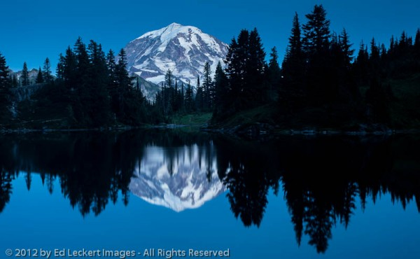 Mount Rainier Reflected in Eunice Lake at Twilight, Mount Rainier National Park, Washington