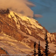 Mt. Rainier and Full Moon at Dawn, Mount Rainier National Park